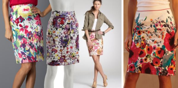 Modelos de Saias com Estampa Floral Modelos de Saias com Estampa Floral