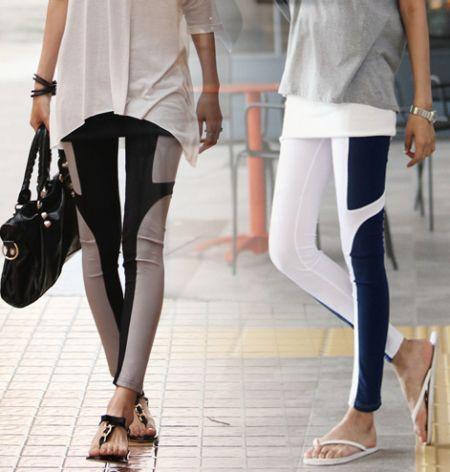 A calça legging bicolor pode até mesmo virar um truque de moda se você escolher o modelo correto (Foto: Divulgação)