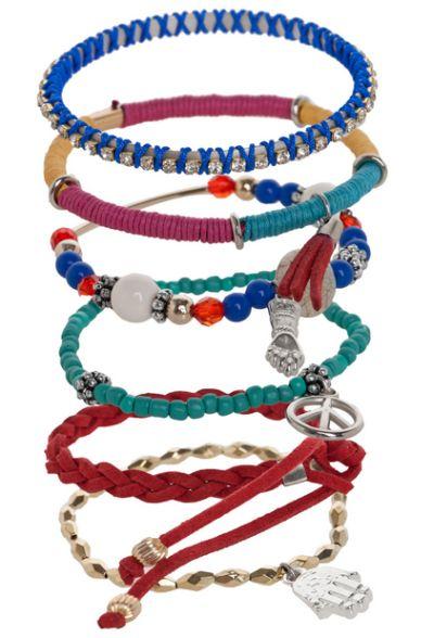 (Foto: dafiti.com.br) Kit de pulseiras, com seis peças 39,90