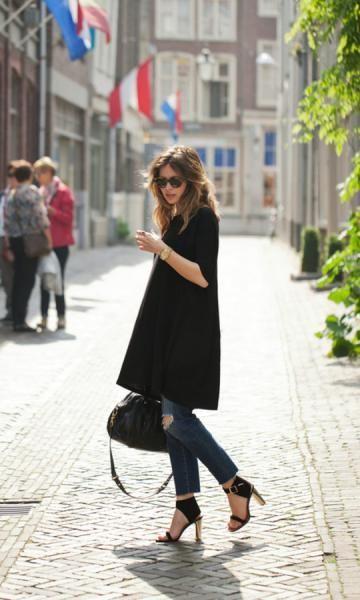Montar look com máxi t-shirt pode ser bem fácil, se você seguir algumas dicas de moda e de estilo (Foto: pinterest.com)