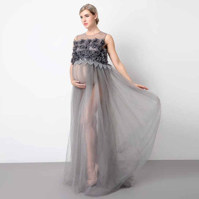 moda gestante vestido tule