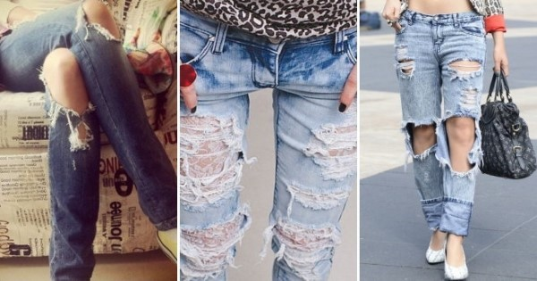 Jeans muito rasgado