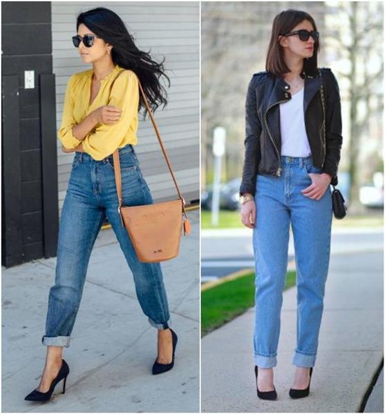 mom jeans com scarpin