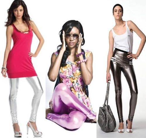 Você pode usar calça legging metálica em várias situações, deve apenas adequar a cor para cada tipo de corpo e peça complementar para cada ocasião (Foto: Divulgação)