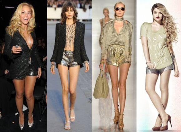 Os shorts metalizados usados na moda 214 podem ser incorporados a todos os estilos de looks (Foto: Divulgação)