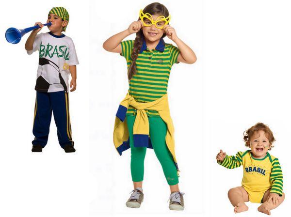 Modelos e estilos de roupas infantis para Copa do Mundo estão tão democráticos que será até difícil escolher o preferido (Foto: Divulgação)