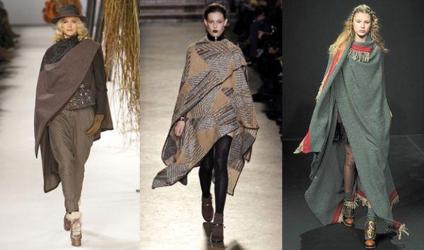 Se você quer ficar em dia com a moda neste inverno siga a tendência de moda blanket capes (Foto: elle.com)