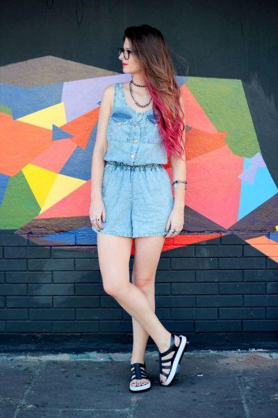 Invista em ao menos um dos muitos modelos de macaquinhos jeans 2016 (Foto: pinterest.com)