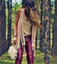 Moda de Roupas de Camurça com Franjas