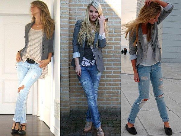 calca-jeans-rasgada com blazer