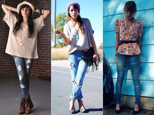 jeans com rasgados