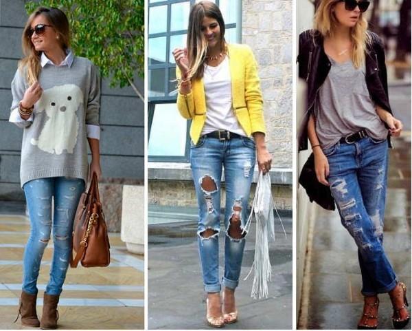 jeans rasgado looks