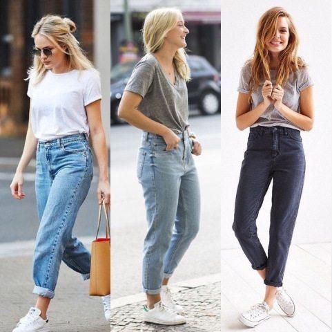 Mom jeans com tênis